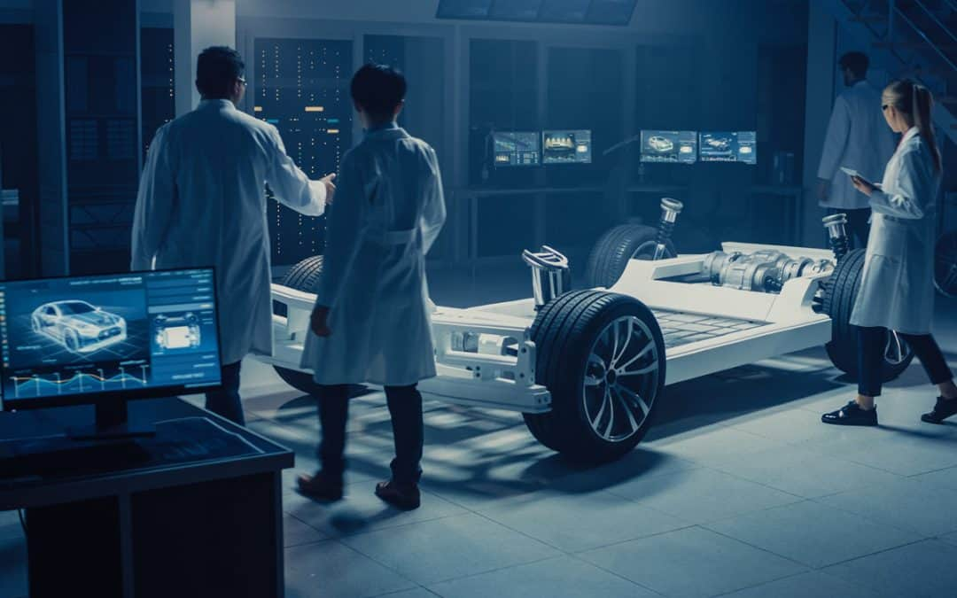 Scientists working on car